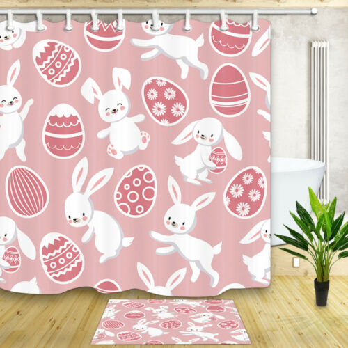 "Pink Easter Bunny Bath Shower Curtain Bathroom Waterproof Fabric /& Hooks 71/"""