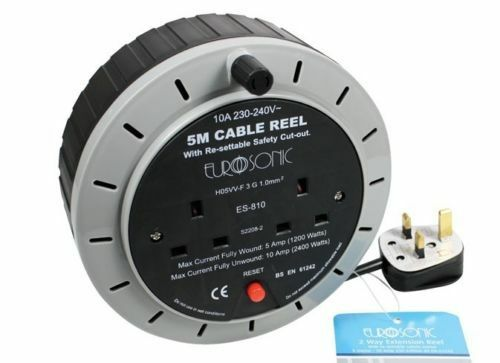 ADAPTORS Heavy Duty EXTENSION REEL 2M 5M 10M CABLE EXTENSION LEADS SOCKETS
