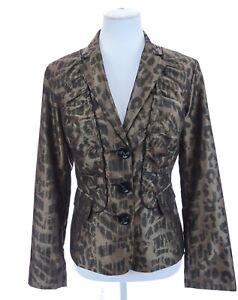 Chico's Womens Ruched Ruffled Leopard Print Bronze Blazer Jacket Sz 1 Medium 8