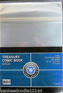 """100 CSP Resealable Treasury Bags Archival Storage 10 1/2 x 13 1/2 + 2"""" flap"""