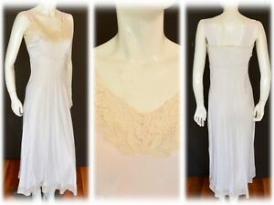 Old-Hollywood-Vintage-1930s-30s-1940s-Bias-Cut-Rayon-Nightgown-Gown-Dress-w-Lace