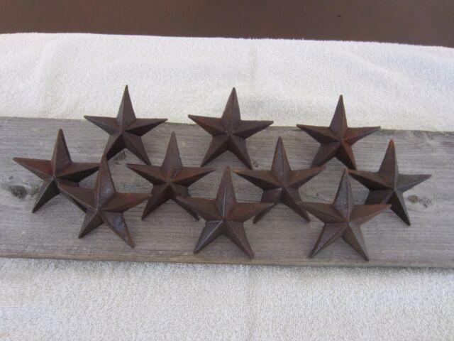 10 Rustic Star Nails Craft Pins 3 1/4 Raw Cast Iron Decorative Wall ...