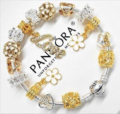 Authentic Pandora Charm Bracelet Silver Gold Love Heart European Charms Ebay