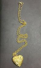 """Gold Heart Luck Charm Locket Pendant Necklace Gift Love Costume Jewelry 12"""""""