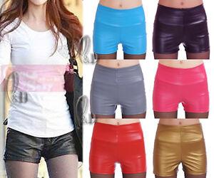 AU-SELLER-High-Waist-PU-Faux-Leather-Punk-Rockabil-Shorts-pants-SZ-6-14-P132