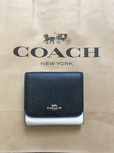 3b0a7bc3d33c2 NWT Coach F57825 Colorblock Small Wallet Chalk White   Black Leather ...