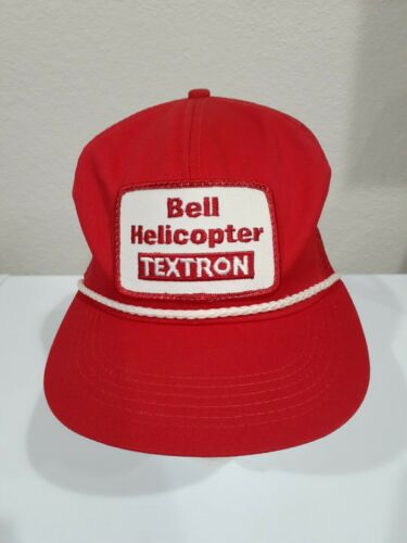 Vintage 90's Red Bell Helicopter Textron Snapback