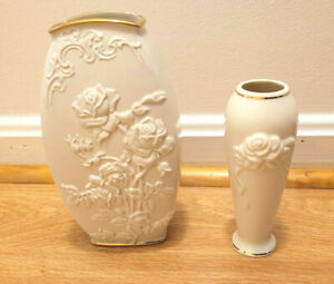 LOT: Lenox Flower Bud Vase & Vase Rose Theme Cream colored with 24K Gold Accent