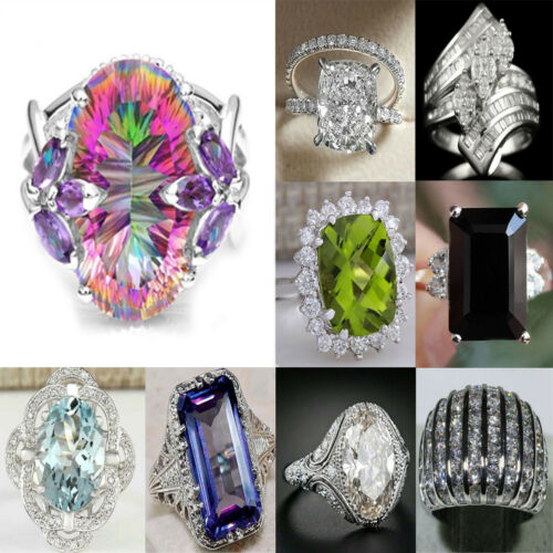 Unisex 925 Silver Sapphire White Topaz Ruby Gem Wedding Engagement Party Rings