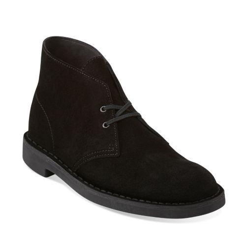 Clarks Bushacre 2 Para Hombre botas Desierto De Gamuza Negra 26082288