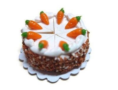 8 Cut Slice Carrot Cake Dollhouse Miniatures Food Bakery Easter Holiday