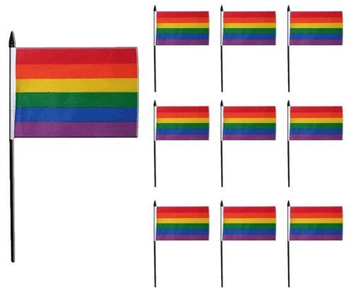 25 x RAINBOW HAND WAVING FLAG 15CM x 10CM MINI FLAG LGBT PRIDE MARCH