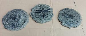 3 TRITTSTEINE Libelle Fisch Schnecke granit marmoriert Trittstein Trittplatte