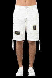 Bermuda-Uomo-Aeronautica-Militare-BE041-Frecce-Tricolori-Pantaloni-Bianco-Nuovi