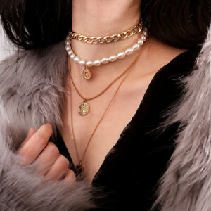ITS-Vintage-Multilayer-Coin-Pendant-Faux-Pearl-Chain-Choker-Necklace-Jewelry-Ut