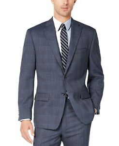 Michael Kors Mens Blazer Navy Blue Size 48 Long Plaid Printed Wool $450 #132