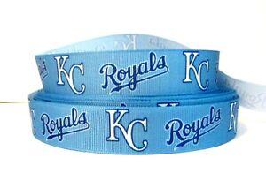 GROSGRAIN KANSAS CITY ROYALS MLB RIBBON LOT FOR HAIR BOWS 4 YARDS