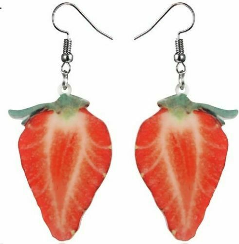 Fresa Sandía Fruta Divertido moda verano lindo gancho cuelgan pendientes Reino Unido