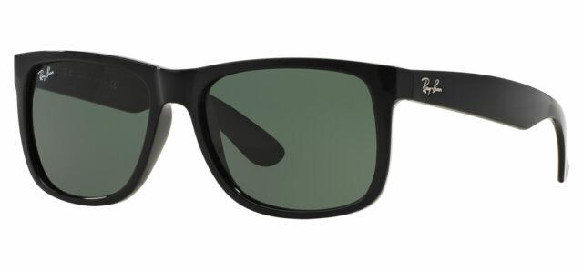 Ray-Ban Gafas de sol Justin 4165 601/71 Negro Brillante Verde Grande 55mm