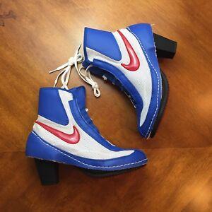 fc6755106bf9 COMME des GARCONS x Nike CDG Blue Machomai Boxing Heel Sneaker Boots ...