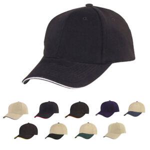 1 Dozen Brushed Cotton Sandwich 6 Panel Low Crown Baseball Hats Caps ... c43d9c63724