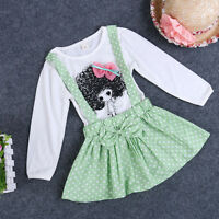 Baby Girls Polka Dot Shirt Child wild-curl up Overalls One-piece Dress Clothes