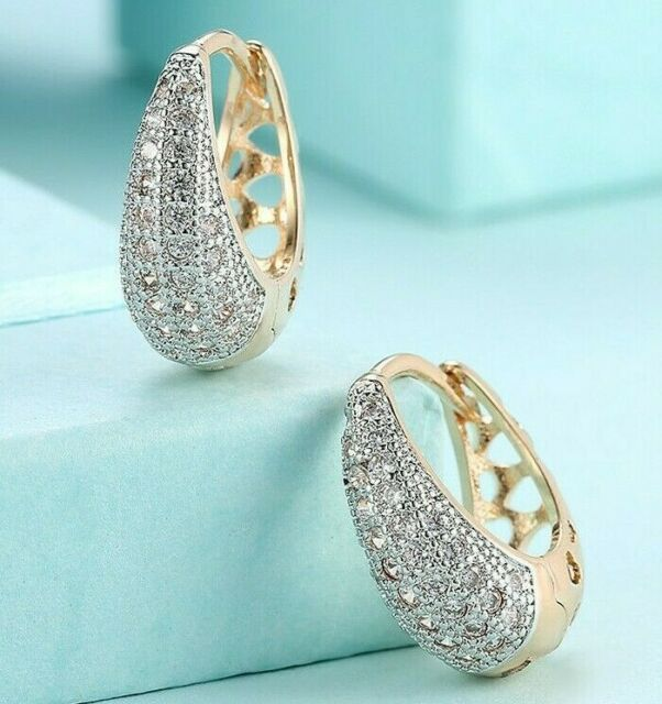 5.00 CT Pave with Swarovski Crystals Huggie Earrings 18K Gold with Gift Box