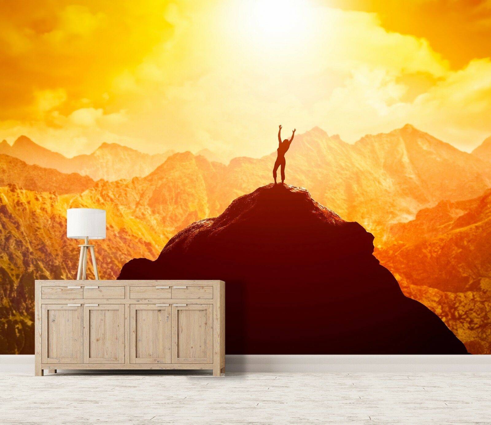 3D Golden Sunset Peaks 45 Wall Paper Wall Print Decal Deco Indoor Wall Mural CA