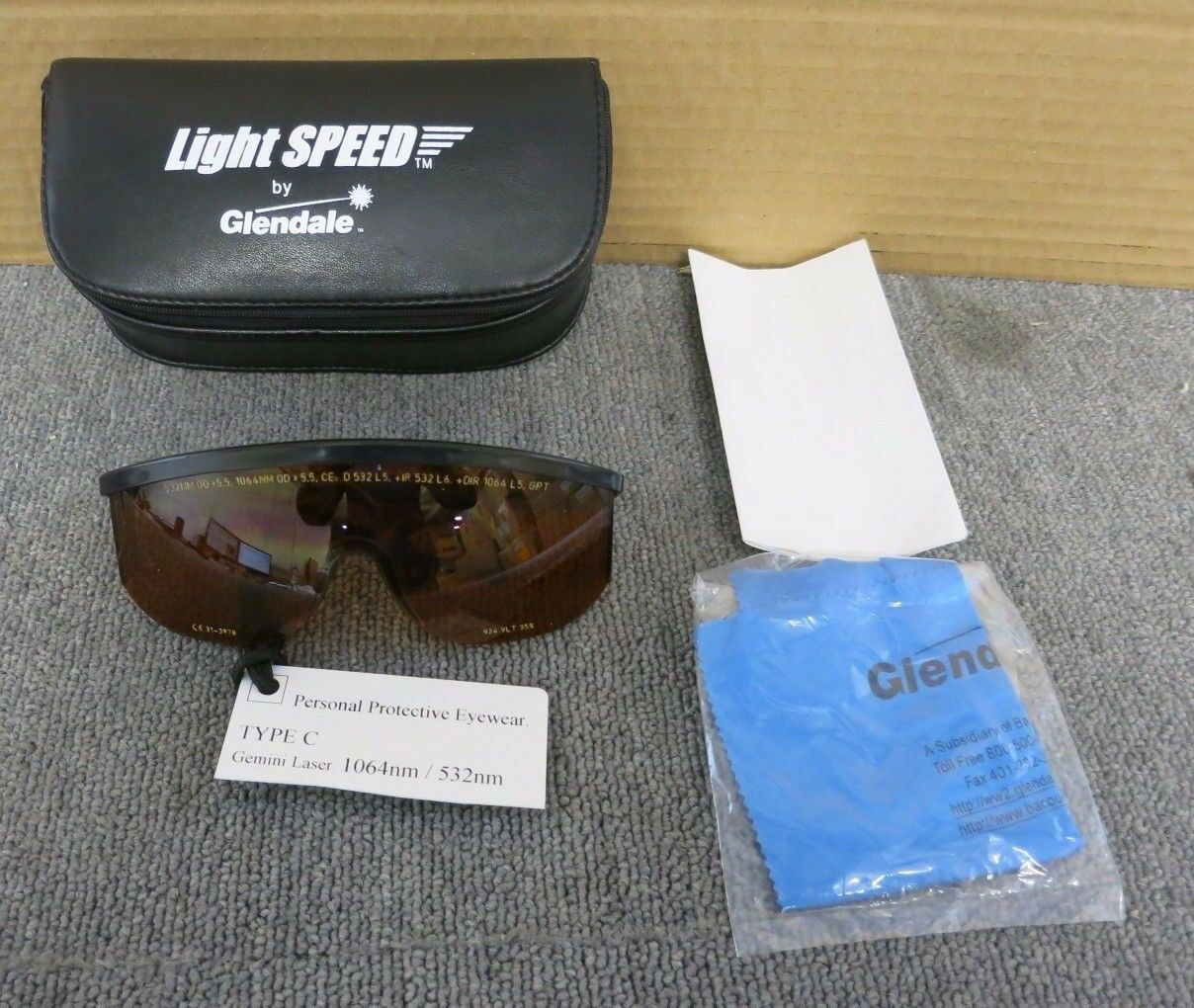 Glendale Light Speed Type C Laser Safety Goggles 1064nm   532nm For Gemini Laser