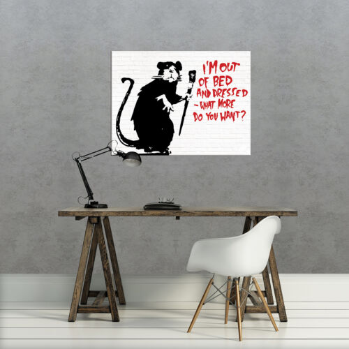 Toile photo la Fresque toile image poster Banksy street art rat 3fx2033o6