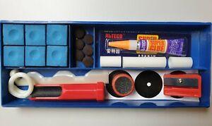 Billard-Zubehoer-Klebeleder-Kreide-Klemme-Tool-Queue-Set-Reparaturset-23-tlg-Box