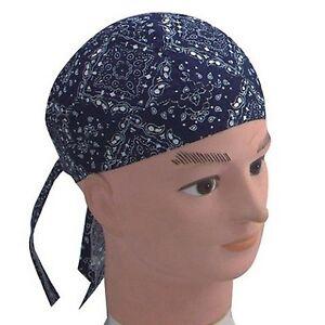 Fitted-Bandana-Headscarf-One-Size-Zandana-washed-Blue-White-Paisley-Cotton