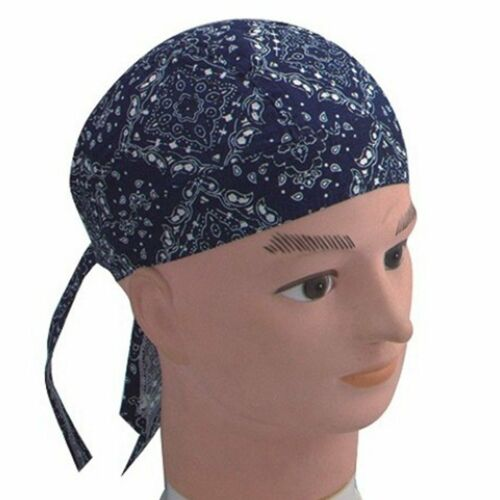 Drap Housse bandana foulard taille unique Zandana Lavé Bleu Blanc Paisley Coton