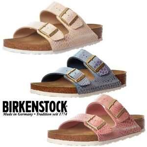 Details zu Damen Birkenstock Arizona Glänzend Schlange Standard Zehentrenner Sandalen Größe
