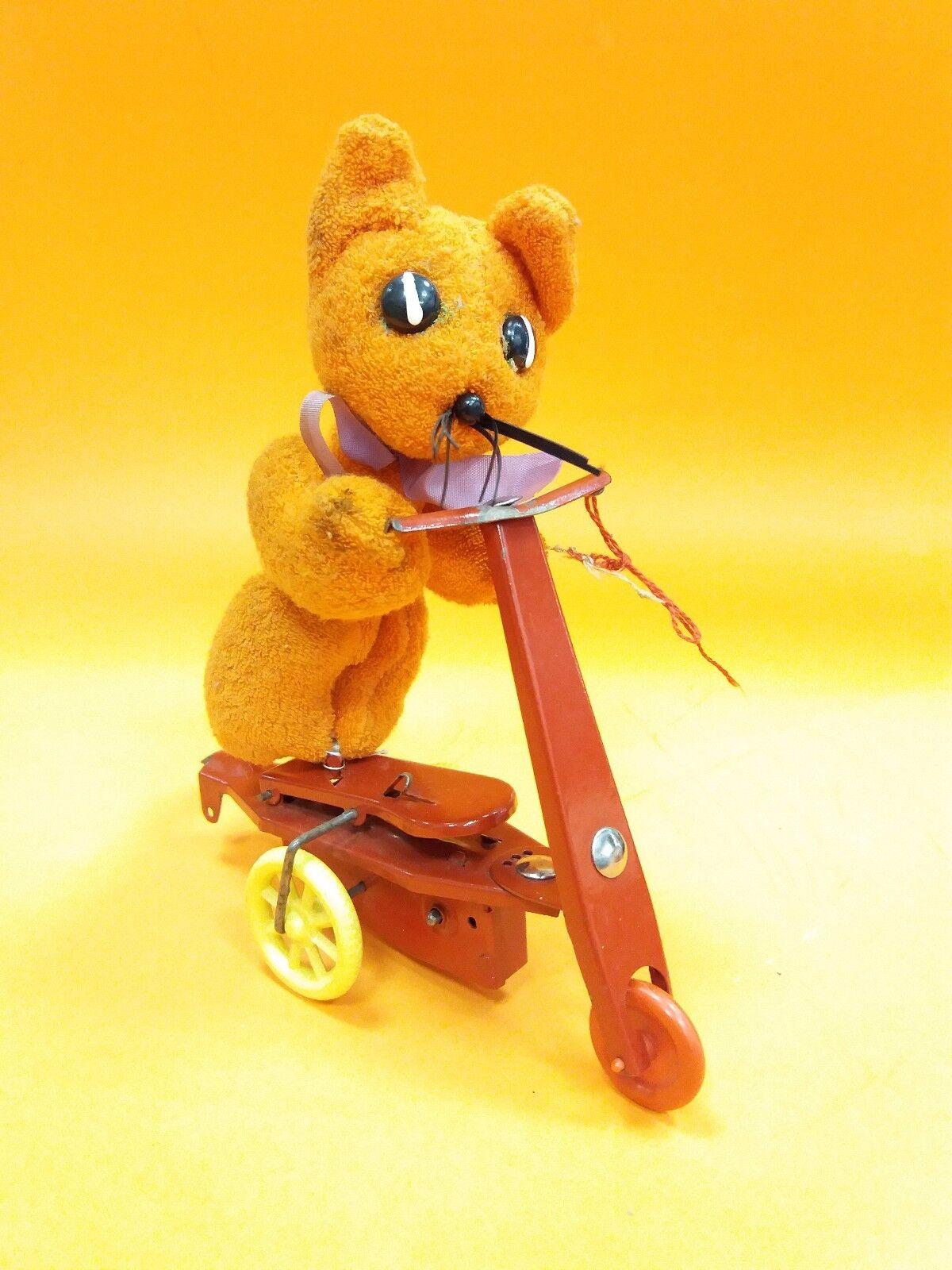 Vintage Antiguo Raro Wind-up mecanismo de estaño Triciclo Scouter Oso De Peluche