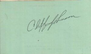 Cliff Johnson Autographed Vintage Index Card Yankees / Blue Jays Catcher