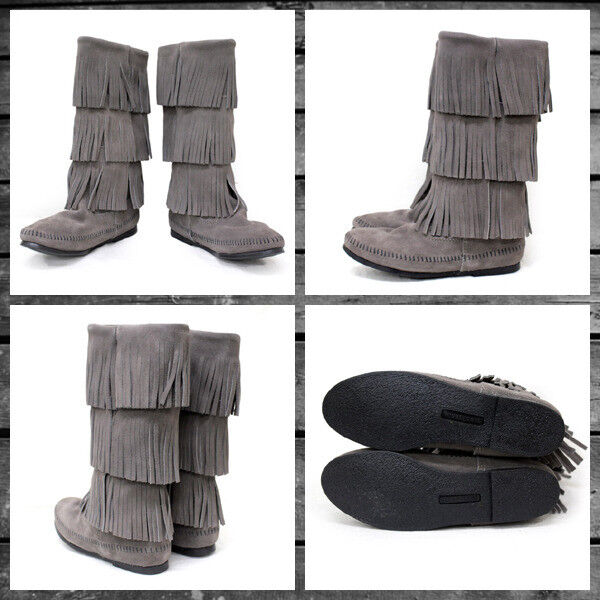 Minnetonka Women's 3 Layer Fringe MID CALF Boots Grey Suede 1631T Size 7
