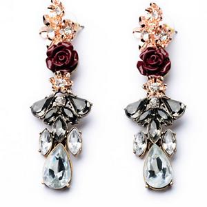 1Pair-Elegant-Women-Red-Rose-Black-Resin-Crystal-Ear-Stud-Eardrop-Dangle-Earring