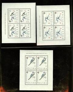 Poland 1962 Sc.1046-8 footnote, Ski FIS Championship minature sheets, MNH,