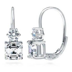 BERRICLE-Sterling-Silver-Cubic-Zirconia-Leverback-Wedding-Dangle-Drop-Earrings