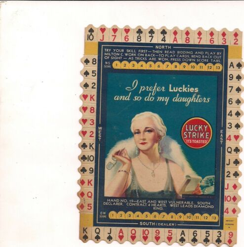 Lucky Strike 1930's Bridge Hand #19 Ad