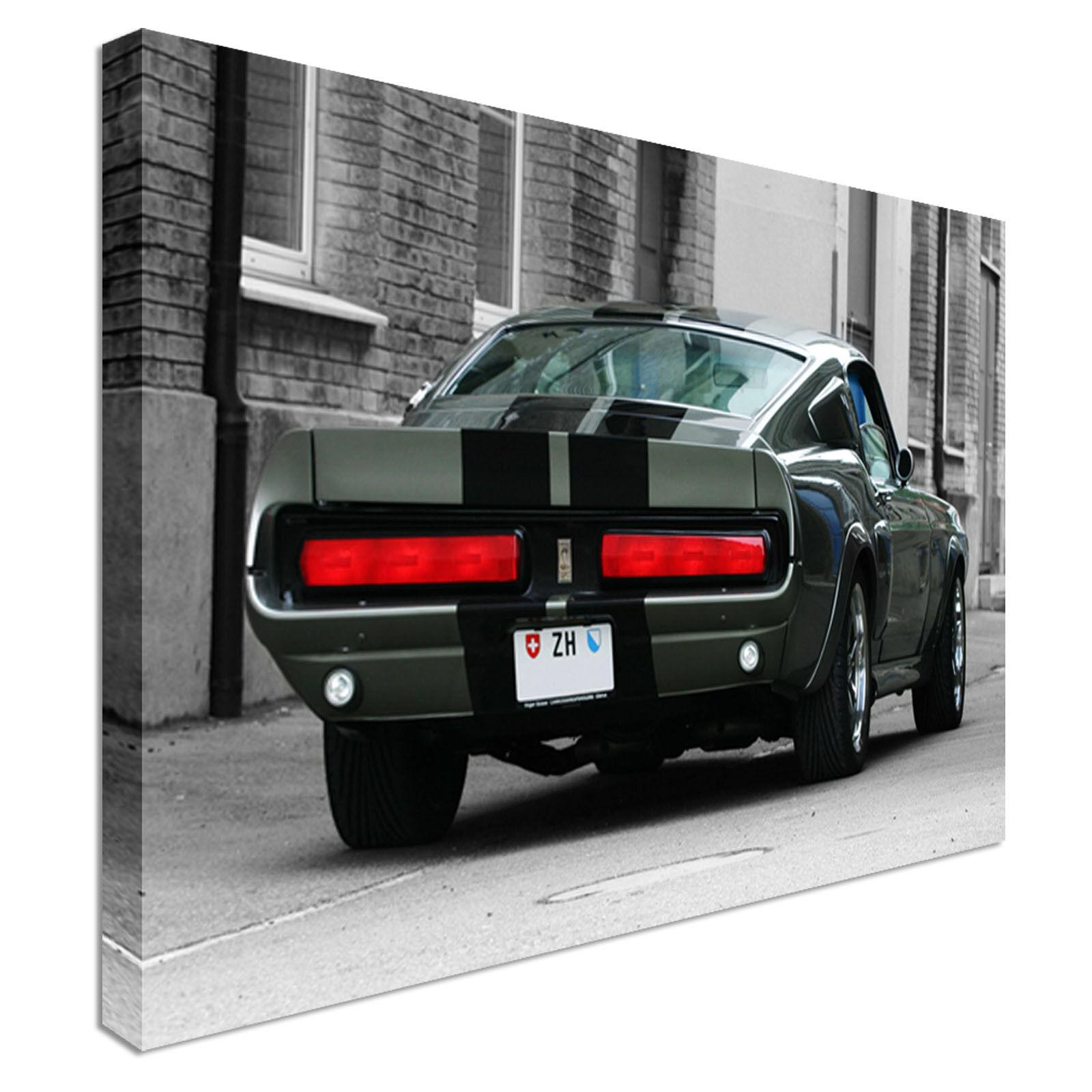 Mustang shelby 1967 Eleanor Rear B&W Canvas Wall Art Print Large + Any Größe