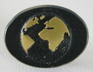 black gold oval plastic lapel pin world globe map continents africa