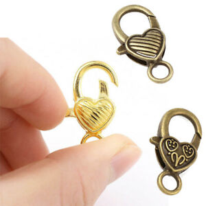 Jewelry-Clasp-Connectors-Findings-10pcs-Heart-Shaped-Lobster-Hooks-End-Charms