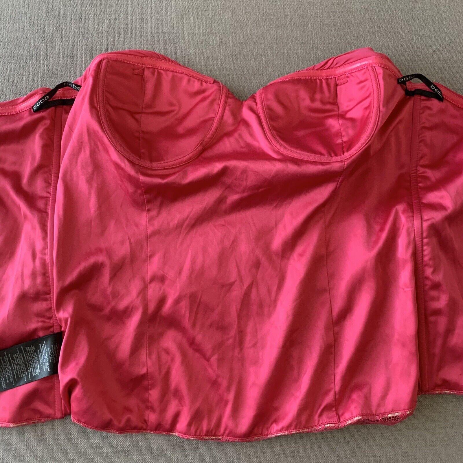 Vintage Y2K 90s BEBE Hot Pink Lace Silk Bustier C… - image 10