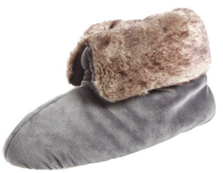 isotoner Signature Ash Gray Women's Plush Velour Bootie Slipper w/Memory Foam
