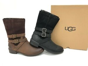 e9c8dde08f8 Details about UGG Australia LORNA 1095155 Black or Coconut Shell Boots  Waterproof Buckle Deco