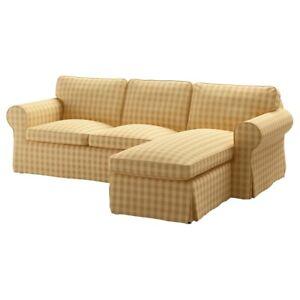EKTORP-3-Seat-Sofa-Chaise-Cover-Slipcover-Skaftarp-Yellow-New