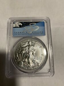 2021 (S) Silver Eagle PCGS MS70 Emergency Issue FDOI Signed T. S. Cleveland