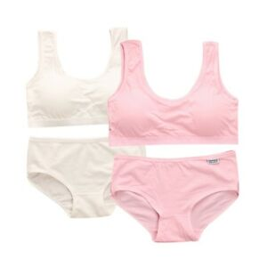 e971faf59c06 Girls Cotton Bra Panties Set Young Girl Underwear Pure Color Bra ...